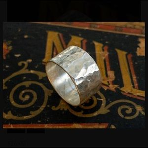 Hammered Sterling Silver Ring, Size 6